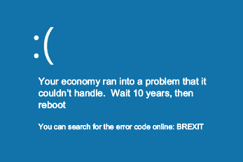 Picture of windows error screen adapted to cover brexit economic impact
